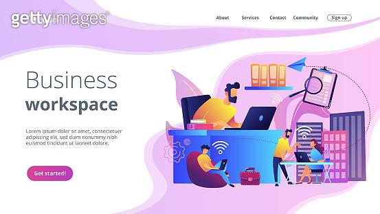 On-demand urban workspace concept landing page.