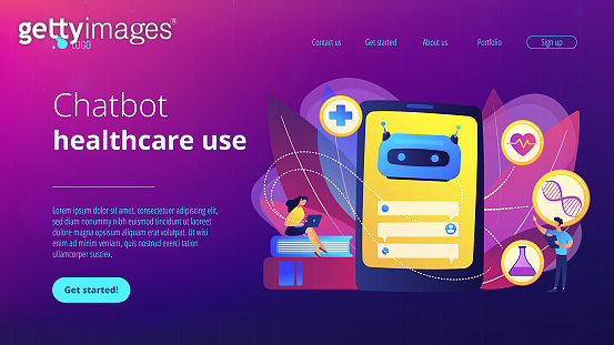 Chatbot in healthcareconcept landing page.