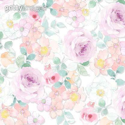 Beautiful watercolor rose peony flower