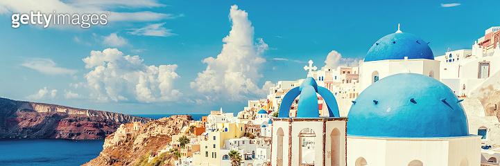 Three Domes church view of Santorini Oia Greece