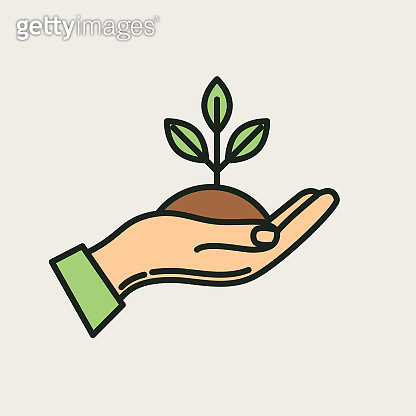 Seedling Hand Agriculture And Farming Thin Line Icons
