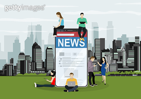 Online breaking news concept vector illustration. Young men and women are standing near big smartphone and using their own smart phones for reading news. Flat concept illustration