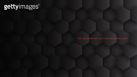Tech 3D Vector Hexagon Blocks Dark Gray Technology Abstract Background