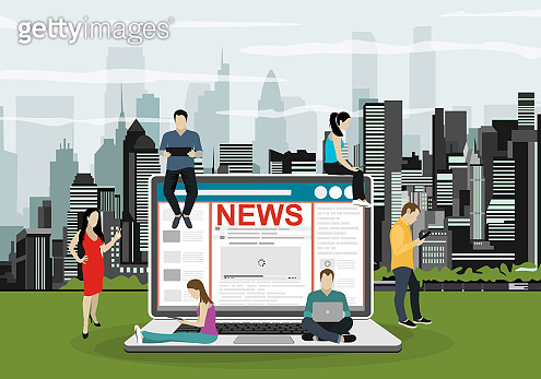 Online breaking news concept vector illustration. Young men and women are standing near big laptop and using their own smart phones for reading news. Flat concept illustration