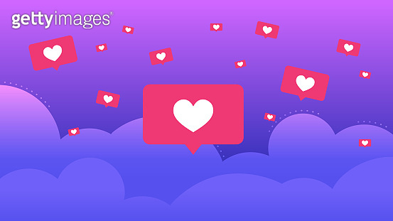 Social media speech bubbles with hearts flying in clouds