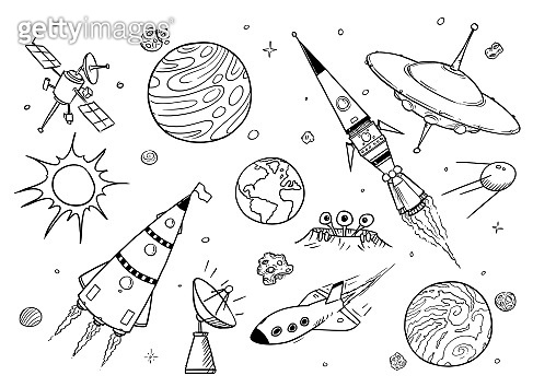 Set of Cartoon Alien Spaceships, UFO, Rockets, Planets and Space Props