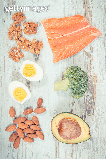 Vintage photo, Natural sources of omega 3 acids, unsaturated fats and dietary fiber, healthy nutrition concept