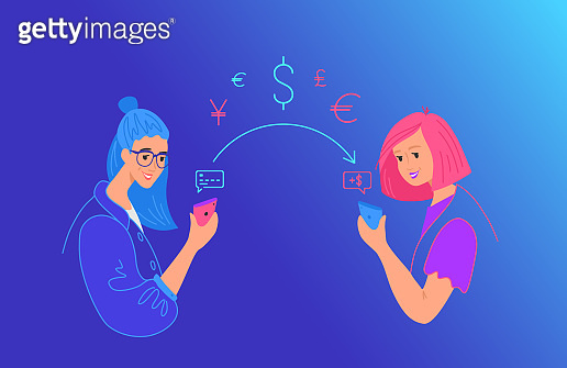 Send money gradient vector neon illustration for web and mobile design