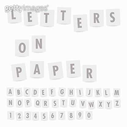 Vector alphabet letters on sheets of paper with shadow on transparent background.