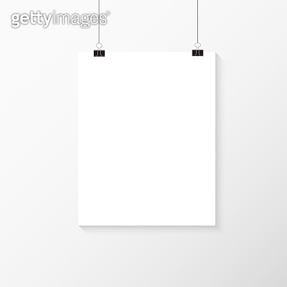 White poster hanging. Mock up empty paper blank. Vertical template. Vector illustration