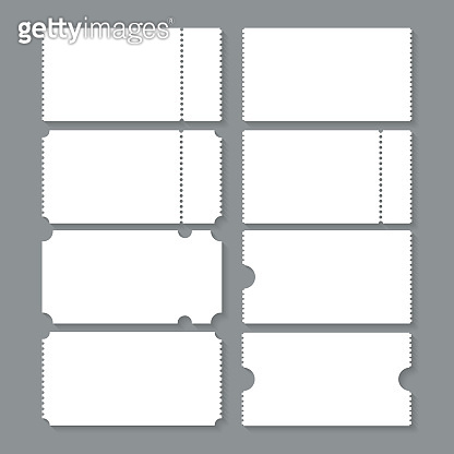 Set of blank ticket mockup template. Realistic coupon on grey background. Tickets design. Vector