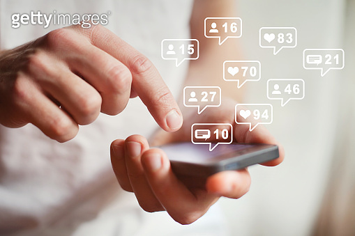 social media or network on smartphone mobile, comments, likes and new followers