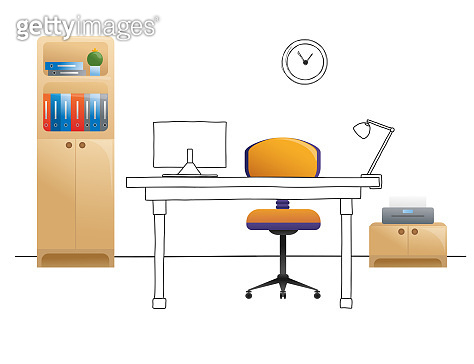 Office chair, desk, various objects on the table. Workspace in flat style. Vector illustration