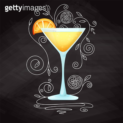 Realistic cocktail on chalk background with doodle, pattern. Vector illustration