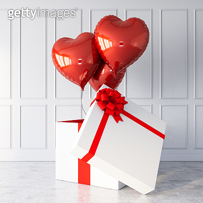 Red Heart Shaped Balloons and White Gift Box