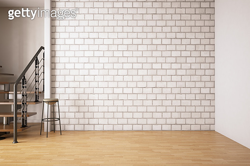 Empty Modern Interior with Stairs and Brick Wall