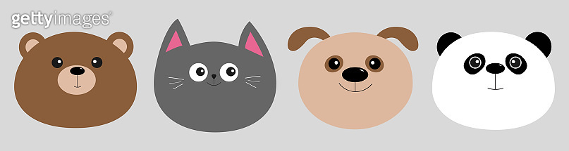 Cartoon kawaii baby bear, cat, dog, panda. Animal head face icon set. Cute cartoon kawaii character. Flat design. Isolated. Gray background.
