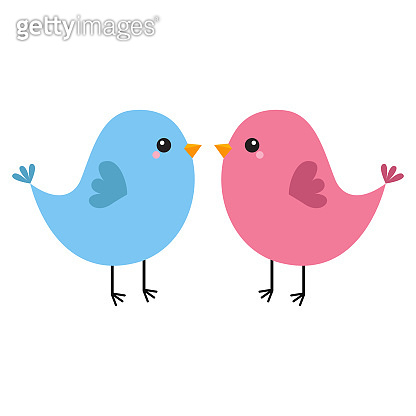Pink and blue bird couple. Happy Valentines Day. Love Greeting card. Cute cartoon kawaii baby character. Flat design. White background. Isolated.