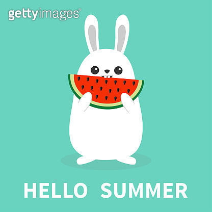 White bunny rabbit holding eating watermelon slise. Funny head face. Big ears. Cute kawaii cartoon character. Hello summer. Baby greeting card. Blue background. Flat design. Easter symbol.