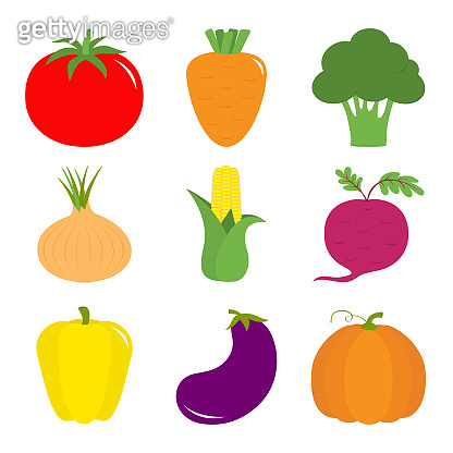 Vegetable icon set. Pepper, tomato, carrot, broccoli, onion, sweet corn, beet, eggplant, aubergine, pumpkin. Fresh farm healthy food. Education card for kids. Flat design. White background. Isolated.