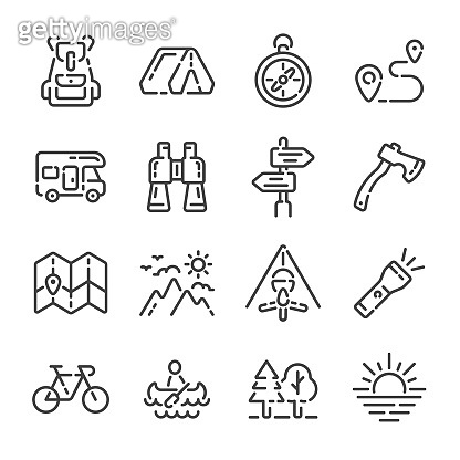 Set of camping trip or tourism outline icons. Vector illustration.