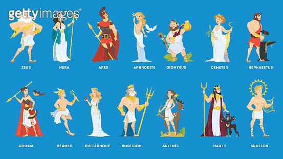 Set of Olympian greek gods and goddess