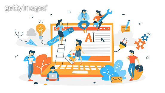 People building website
