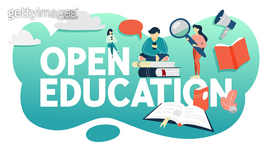 Open education concept. Getting education online
