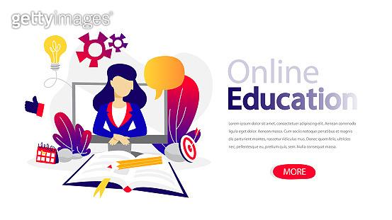 Online education horizontal banner for your website.