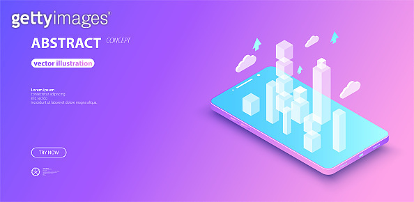 Isometric mobile phone.  Graphic concept for your design. Communication concept, futuristic digital innovation background.