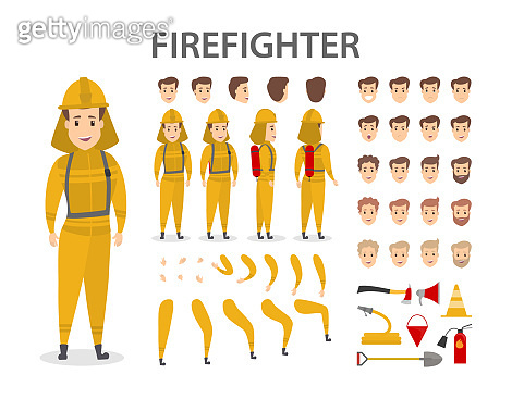 Male firefighter character
