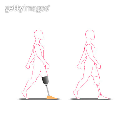 Disabled person with prosthetic leg medical vector illustration, silhouette of a walking invalid.