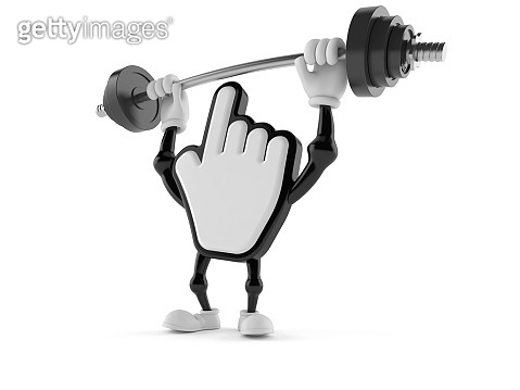 Cursor character lifting heavy barbell