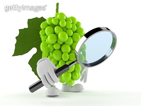 Grapes character looking through magnifying glass