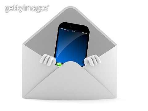 Smart phone character inside envelope