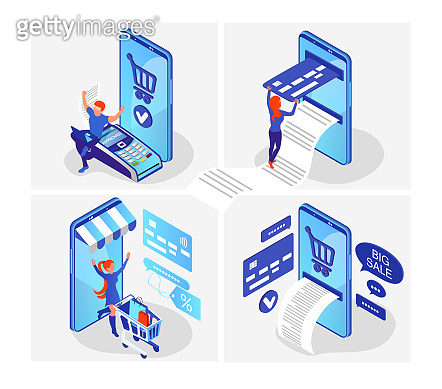 Isometric flat online shopping.  Shopping and payment wia smartphone. Mobile marketing and e-commerce. Vector illustration on a white background