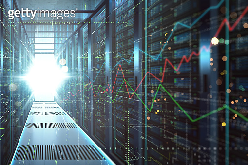Abstract big data center storage with full of rack servers