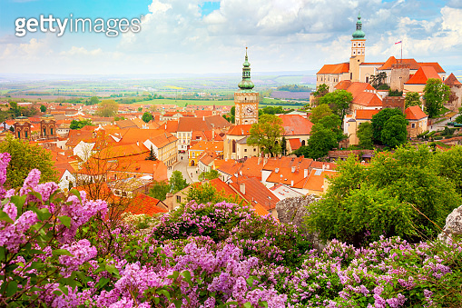 Old Historic European Town with castle, clock and flowers - Mikulov, Czech