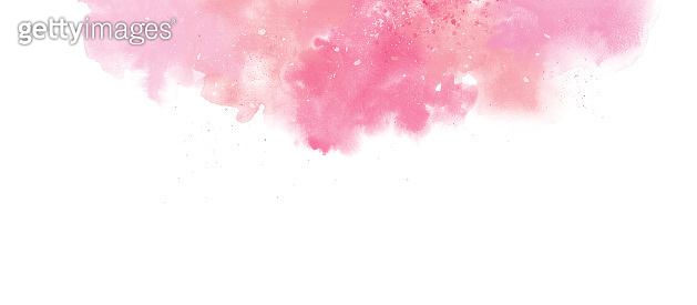 Gentle pink watercolor border with splash, background isolated on white