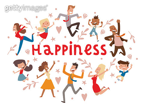 Happy people vector jumping woman or man character in activity o