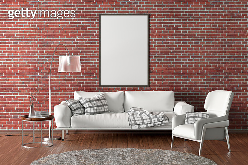 Blank poster on the wall in interior of living room