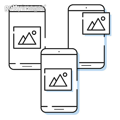 Three smartphone icons with image symbol in simple line style. Outline cell phone vector for for website and app.