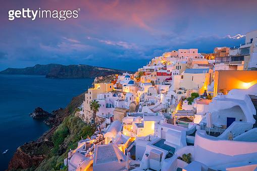 Oia town cityscape at Santorini island in Greece