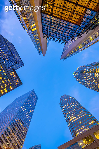 Looking up shot of downtown financial district with skyscrapers in  Toronto