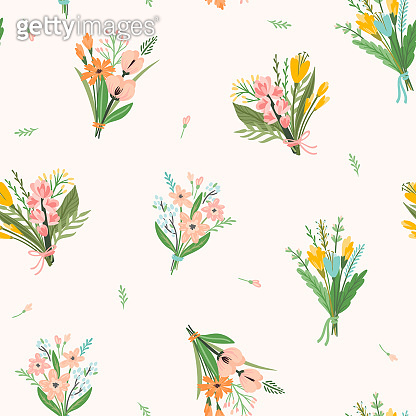 Vector seamless pattern with bouquets of flowers. Design template.