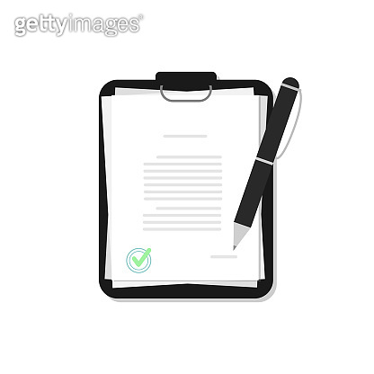 Documents with pen in a flat style. Contract with a stamp. Agreement.