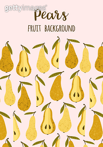 Vector template with pears. Trendy hand drawn textures.