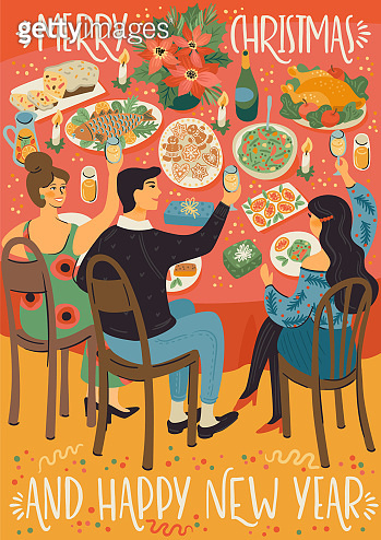 Christmas and Happy New Year illustration of people at christmas table. Festive meal.