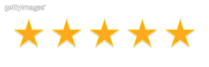 Five golden stars. Rating, quality assessment.