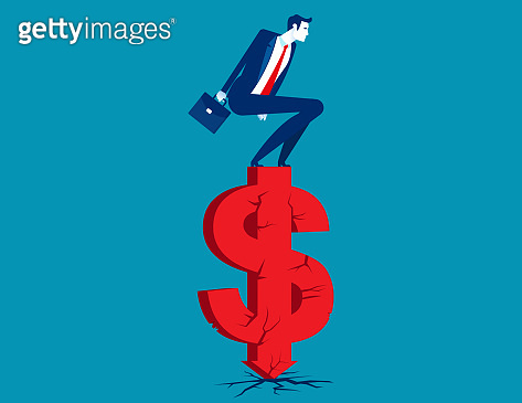 Businessman standing on cracked money sign. Financial problem concept. Flat cartoon vector style